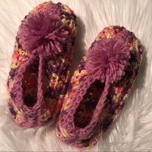 Accessories - Handmade crocheted pom pom slippers